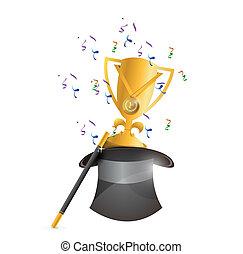 magic hat and trophy award illustration