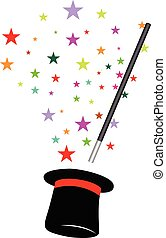 magic hat and wand background