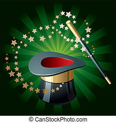 Magic Hat and Wand - Magic performance attributes on glowing...