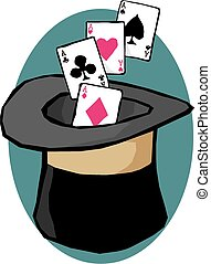 Magic hat - A magician's top hat with playing cards falling...