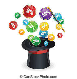 Magic hat vector and sale labels