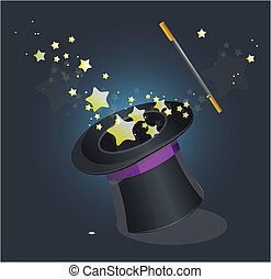 Magic hat vector on black