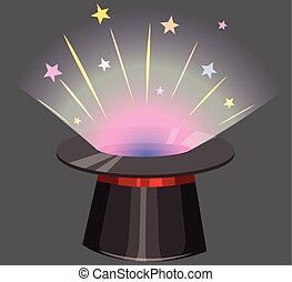 Magic hat with light beam coming out illustration