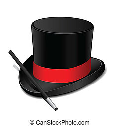 Black magic hat with magic wand. Vector illustration