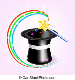 Magic hat with magic wand.