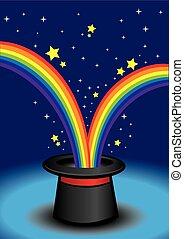 Magic hat with stars and rainbow.