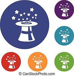 Magic hat with stars icons set