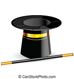 illustration of magic hat with magic wand on an isolated background