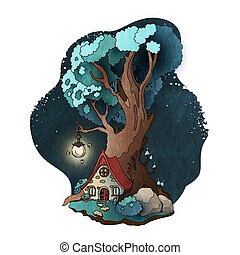 Magic house in roots of the tree. Fairy tale vector illustration