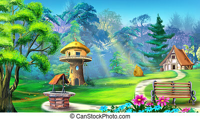 Digital painting of the landscape with magic house in the forest. With bench, well, trees and flowers.