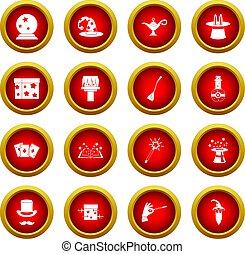 Magic icon red circle set
