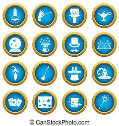Magic icons blue circle set