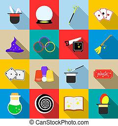 Magic icons set, flat style