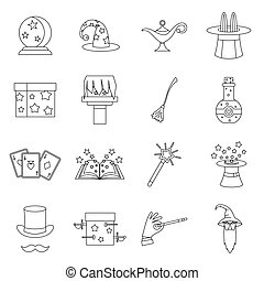 Magic icons set, outline style
