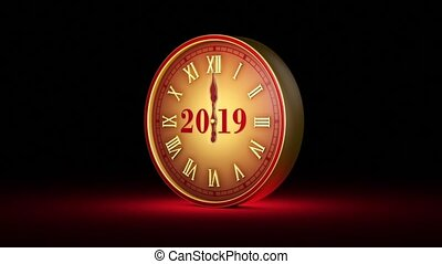 agic instant. Fabulous red clock, midnight. New Year 2020. Christmas. Quick Time, h264, 16-bit color, highest quality. Smooth gradation of color, without banding effect! 3D animation. Available in high-resolution and several sizes to fit the needs of your project.