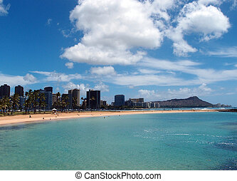 Magic Island Beach and Diamond Head