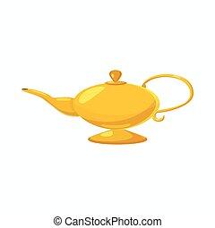 Magic lamp icon, cartoon style