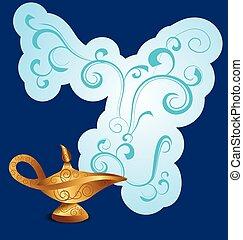 magic lamp on dark blue background with smoke