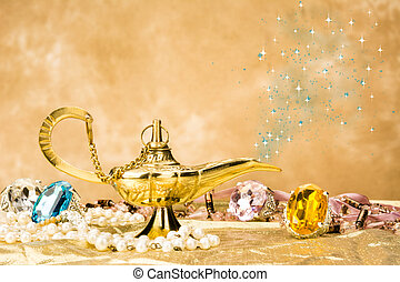 Magic lamp - The formation of a magical deity from a gold, ...