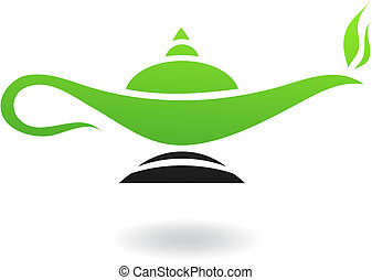 Magic lamp - Line art green and black magic lamp isolated on...