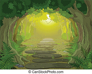 Magic forest landscape with trees and ferns