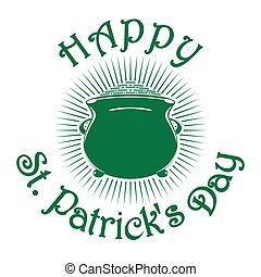 Magic leprechaun pot of gold coins. St. Patricks Day...