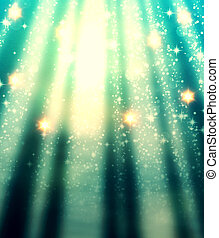 Abstract background of magic light with rays and sparks.