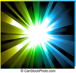 Light Explosion with Rainbow gradient background