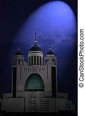magic light over orthodox church with few golden cupola in...