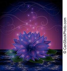Magic lotus flower card, vector