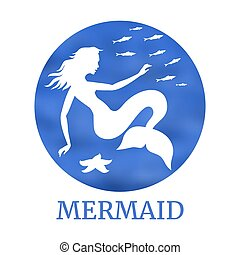 Magic mermaid silhouette with jellyfish and fishes