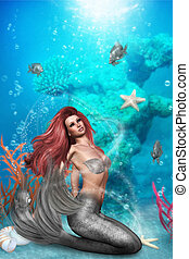 magic Mermaid - a magic mermaid sits on the seabed and looks...