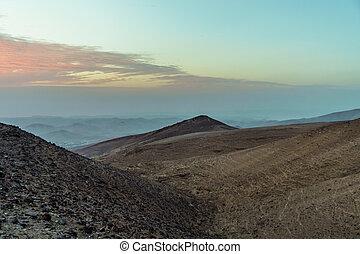 Magic morning sunrise in judean desert Israel