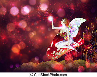 Magic mushroom fairy - 3d flower fairy on mushroom over...
