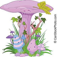 Magic mushroom in a grass