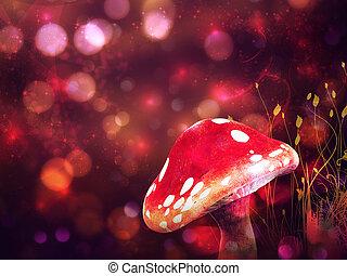 Magic mushroom - Big mushroom on glowing purple fantasy...