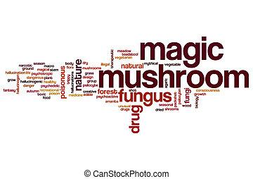Magic mushroom word cloud concept
