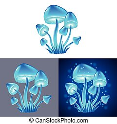 magic mushrooms isolated vector