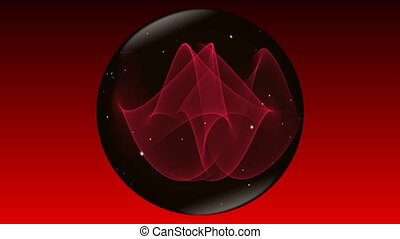 Magic mysterious sphere in black and red design with small white flying sparkles rotating on red and black gradient background.