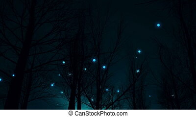 """""""Magic night in silhouette of forest and blue fantasy lights move up."""""""