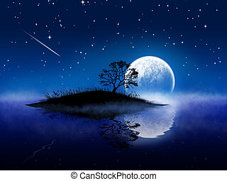 Magic night landscape with moon