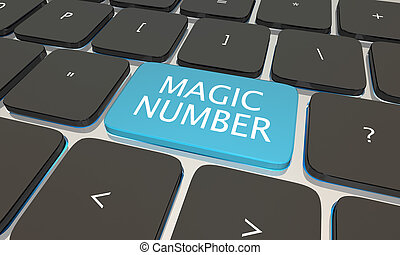Magic Number Computer Keyboard Button Close 3d Illustration