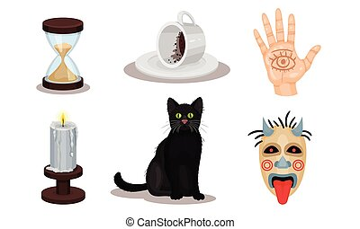 Magic Objects Collection, Witchcraft Symbols, Hourglass, Palm with Seeing Eye, Black Cat, Candle, Mask Vector Illustration
