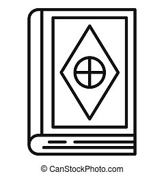 Magic old book icon, outline style