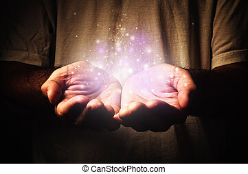Cupped hands holding magic particles. Open hands of a man. Holding, giving, reaching, taking concept.