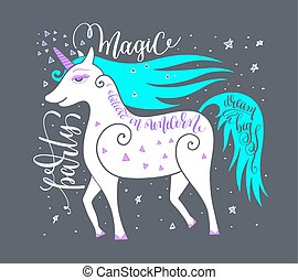 magic party poster with unicorn and hand letterin