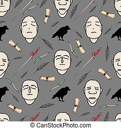magic pattern with faces, scroll and black raven. vector illustration. halloween pattern.