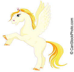 Magic Pegasus with a golden mane and tail on the hind legs
