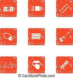 Magic photo icons set, grunge style