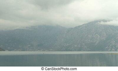 Magic picturesque landscape of mountains surrounding lake....